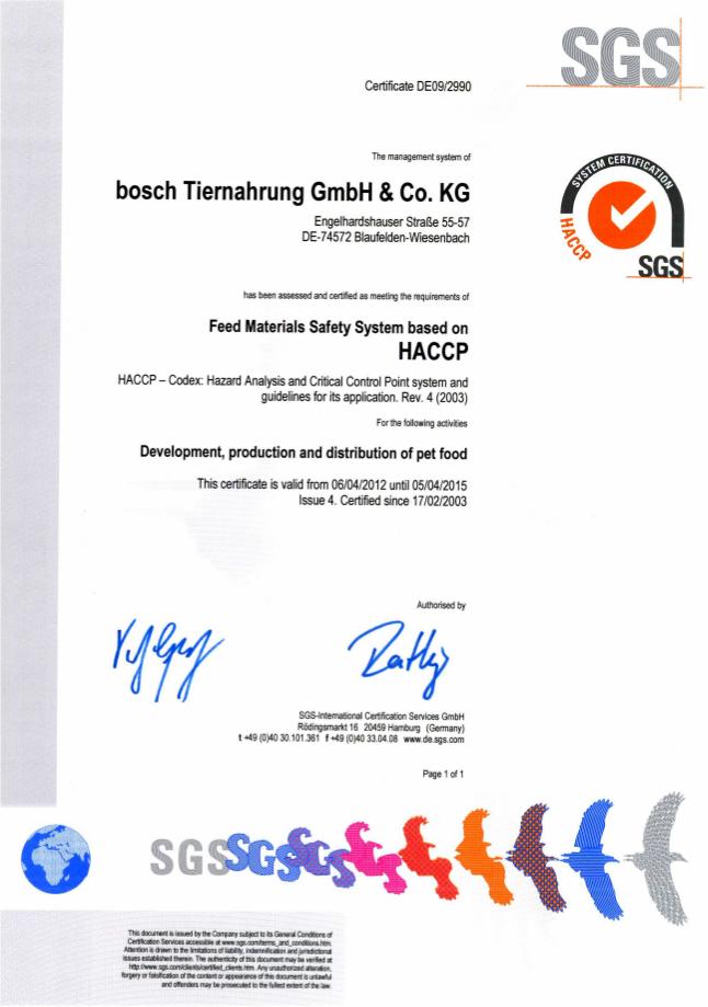 сертификат качества Bosch Tiernahrung GmbH&Co HACCP